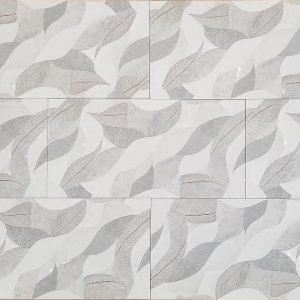 12x24 3D Leaf Grey Decor Textured & Polished Tile