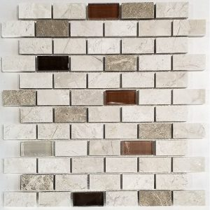 1x2 Crema Glass Stone Backsplash