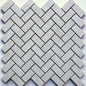 1x2 Majestic Pearl Herringbone Backsplash