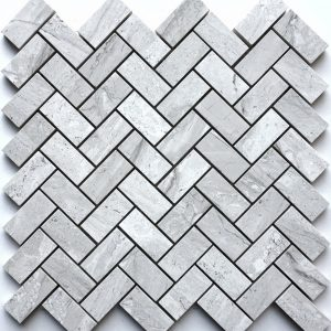 1x2 Norway Ice Herringbone Backsplash
