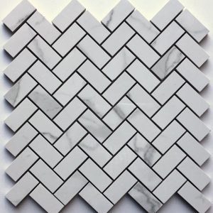 1x2 Statuario Herringbone Backsplash